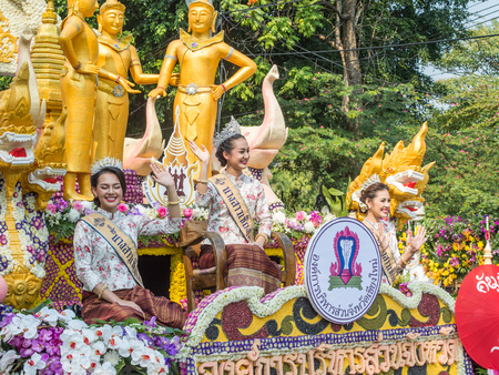 flower parade: Chiang Mai, Thailand - February 6, 2016: Chiang Mai Flower Festival Parade  in Chiang Mai. This year the world famous festival celebrated its 40th anniversary. Editorial