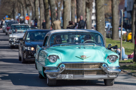 Norrkoping, Sweden - May 1, 2017: Cadillac Eldorado Seville, 1956 at the traditional vintage car parade celebrating spring on May Day in Norrkoping. This parade started in 1974 and has become an annual tradition in Norrkoping on May 1.