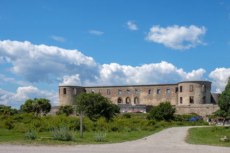 Borgholm, Sweden - July 15, 2017: Borgholm castle on Swedish Baltic sea island Öland. This is a ruin of a fortress that was built in the 13th century and rebuilt several times and destroyed in a fire in 1806.