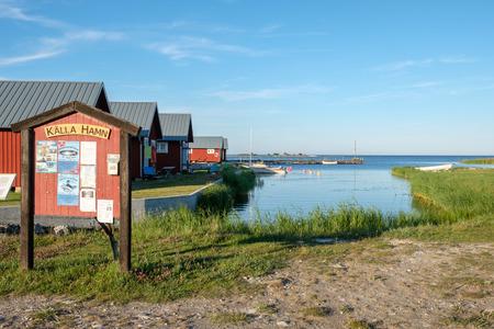 Kallahamn, Sweden - July 9, 2017: Kallahamn harbor on Swedish Baltic sea island Oland. This is a historic harbor used for export of limestone already in the 13th century.
