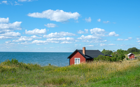 Djupvik on the west coast of Swedish Baltic sea island Oland. Oland is a popular tourist destination in Sweden during summertime. Stock Photo