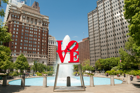 Philadelphia, USA - May 9, 2011: Love Park in Philadelphia, Pennsylvania. The famous sculpture is by Robert Indiana.