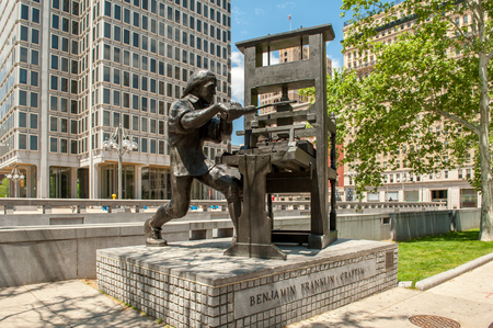 Philadelphia, USA - May 9, 2011: Benjamin Franklin Craftsman Statue by sculptor Joe Brown in Philadelphia, Pennsylvania. Benjamin Franklin was one of the founding fathers of the United States. Editorial