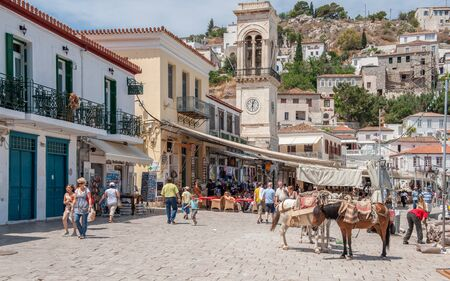 Hydra, Greece - May 30, 2009: Hydra is a Greek island in the Aegean sea belonging to the Saronic islands.  Motor vehicles are not allowed on the island and donkeys are the main means of transportation.