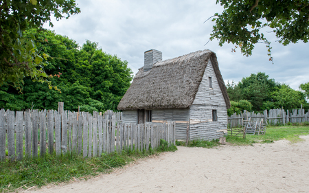 Plymouth, MA, USA - June 20, 2009: Plimoth Plantation on June 20, 2010 in Plymouth. This is an open-air museum replicates the original settlement of the Pilgrims at Plymouth Colony, where according to myth the first thanksgiving may have held in 1621. Editorial