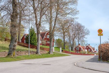 Åtvidaberg, Sweden - May 13, 2017: Vintage buildings in Swedish small town Åtvidaberg. Åtvidaberg was once the home town of Facit, a world wide corporation that went bankrupt in the 1970's.