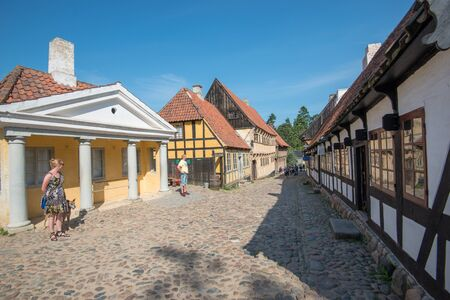 Aarhus, Denmark - August 23, 2013:  The Old Town in Aarhus is popular among tourists as it displays traditional Danish architecture from 16th century to 19th century. Editorial