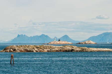 Coast landscape at Henningsvaer on Lofoten islands in northern Norway.