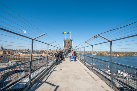 Stockholm, Sweden - May 1, 2009: Tourists enjoy the aerial view from Katarina elevator of Stockholm. The city is built on 17 islands and often called the Venice of the north.