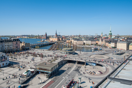 Stockholm, Sweden - May 1, 2009: Aerial view from Katarina elevator of the Old Town in Stockholm. The city is built on 17 islands and often called the Venice of the north.