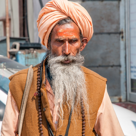 Jaipur, India - February 2, 2011: Portrait of a Rajasthani man in Jaipur. Rajasthani people are known as some of the most colorful people in India.