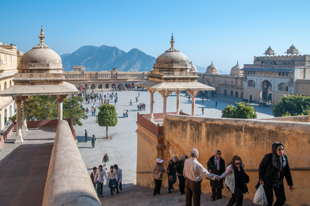 Jaipur, India - February 2, 2011: Amer fort or Amber fort completed in 1592 was the residence of the Rajput Maharajas in Jaipaur, Rajasthan, India. It is a UNESCO World Heritage site.