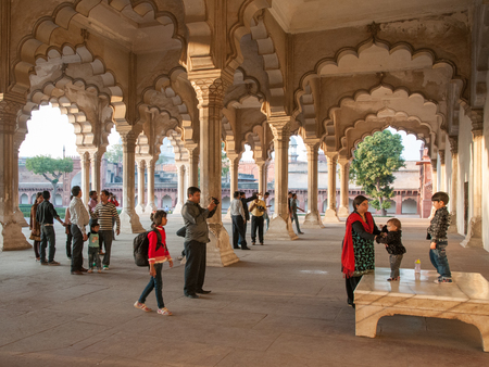 Agra, India - February 4, 2011: Diwan-i-Am, the Hall of Audience at Agra Fort, which was completed in 1573 and served as the main residence of the Mughal dynasty until 1638. It is a UNESCO World Heritage site.