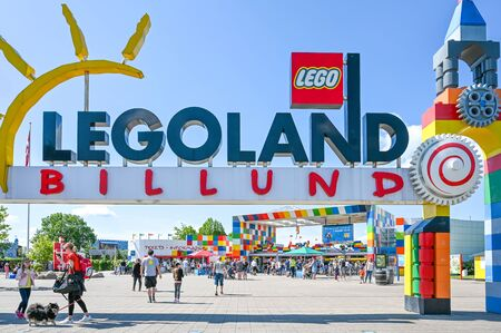 Billund, Denmark - June 7, 2019: Entrance to Legoland in Billund. This family theme park opened in 1968 and is built by 65 million lego bricks.