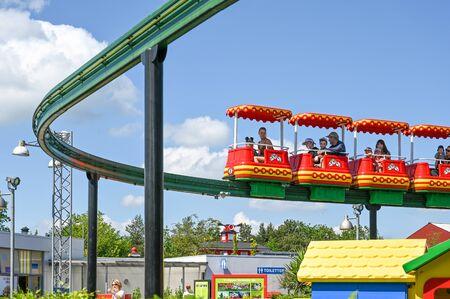 Billund, Denmark - June 7, 2019: Monorail at Legoland in Billund. This family theme park opened in 1968 and is built by 65 million lego bricks. Redakční