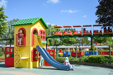 Billund, Denmark - June 7, 2019: Playground at Legoland in Billund. This family theme park opened in 1968 and is built by 65 million lego bricks.