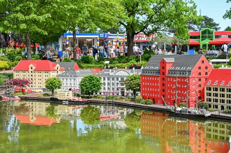 Billund, Denmark - June 7, 2019: Legoland in Billund. This family theme park opened in 1968 and is built by 65 million lego bricks. Editorial