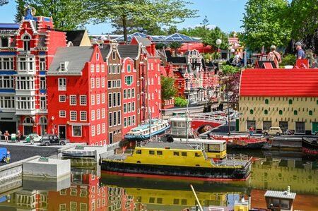 Billund, Denmark - June 7, 2019: Miniature Amsterdam at Legoland in Billund. This family theme park opened in 1968 and is built by 65 million lego bricks. Editorial