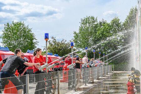 Billund, Denmark - June 7, 2019: Fireman challenge at Legoland in Billund. This family theme park opened in 1968 and is built by 65 million lego bricks.