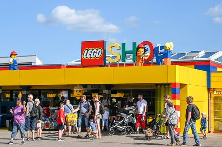 Billund, Denmark - June 7, 2019: Lego shop at Legoland in Billund. This family theme park opened in 1968 and is built by 65 million lego bricks.