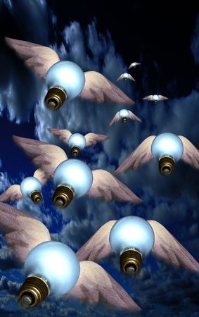 Winged bulbs take flight in a group toward an unknown destination photo