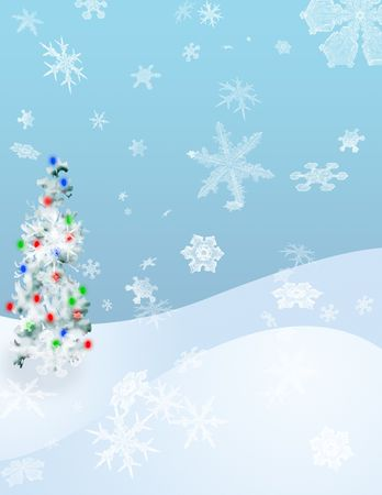 A decorated tree stands on a snow covered hilside photo