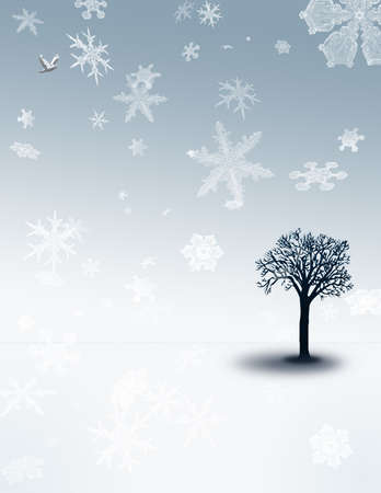 A tree sits in a white-blue landscape with snow falling photo