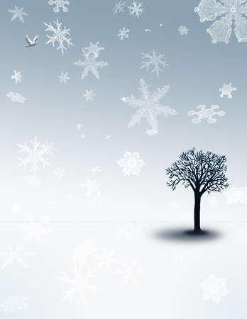 snow falling: Un albero si trova in un paesaggio bianco-blu con la neve caduta Archivio Fotografico