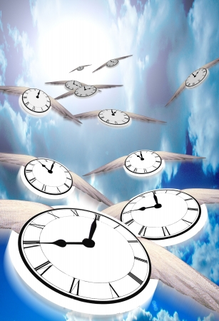 tock illustration: Winged clocks count off the hours as they fly into the distance
