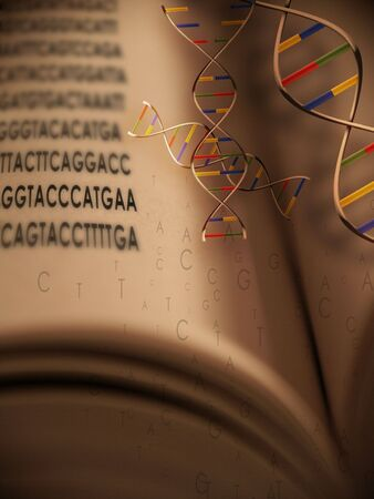 sequencing: An open book with dna strands and gentic code springing from book