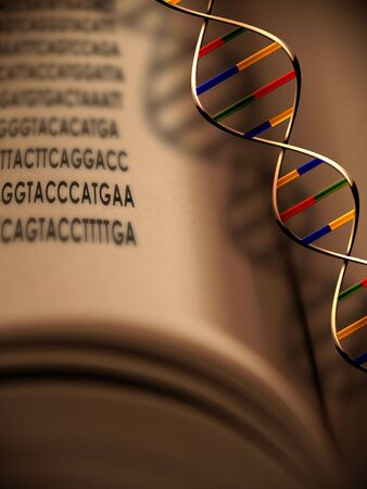 genetically modified organisms: An open book with dna strand and gentic code