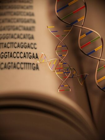 sequencing: An open book with dna strands and gentic code Stock Photo