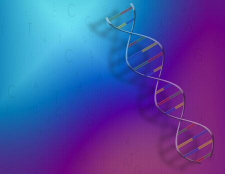 A blue-purple background with DNA strand and genetic code photo