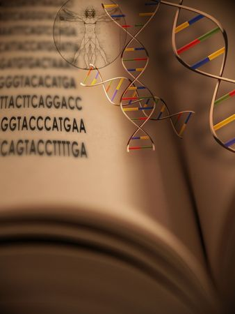 An open book with dna strands and gentic code springing from book photo