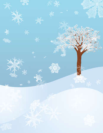 A Winter Hillside with a Snow Covered Tree