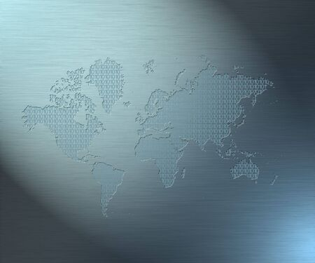 0 geography: Map of the earth filled with binary code Stock Photo