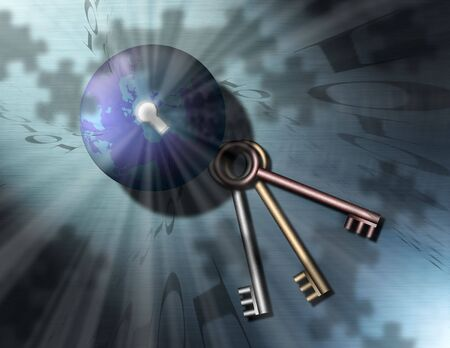 The Puzzle of and Keys to the Globe Banco de Imagens