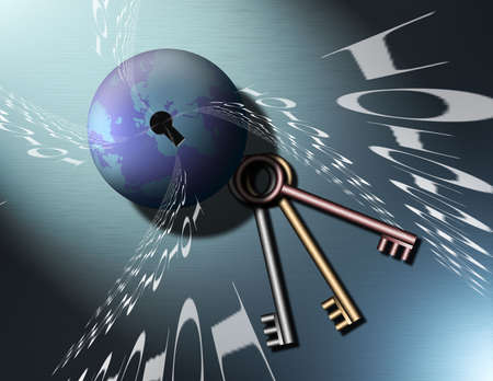 encode: Binary code swirls from a keyhole in a globe of the earth, keys lay nearby Stock Photo
