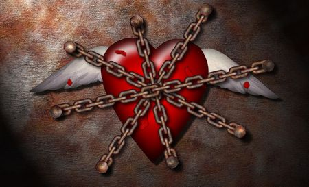 sabotage: A chained winged heart Stock Photo