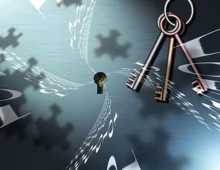 baffle: Keys Hang near a key hole, puzzle piece shadows are cast upon the wall, behind the keyhole some money can be seen