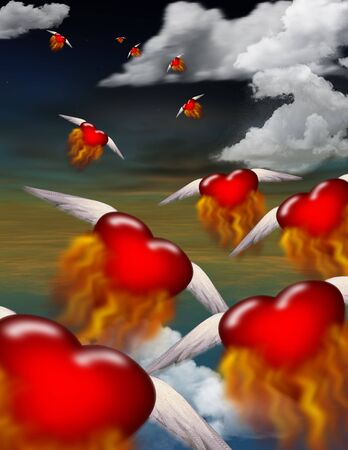 Burning hearts in flight Stock Photo - 503693