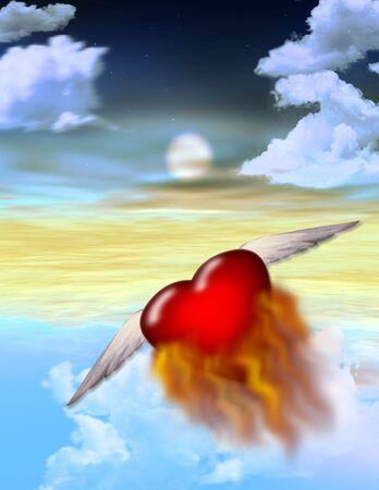 A burning heart flys off alone into the twilight Stock Photo - 503684