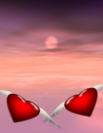 2 hearts fly off together