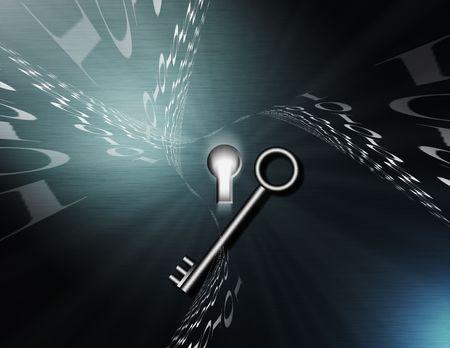 hallucination: Binary code swirls around a keyhole, nearby a silver key