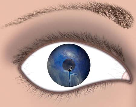 図の青い目のクローズ アップ