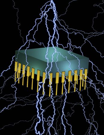 A voltage charged electronic chip
