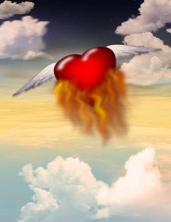 単一の翼飛行中燃えている心臓 写真素材