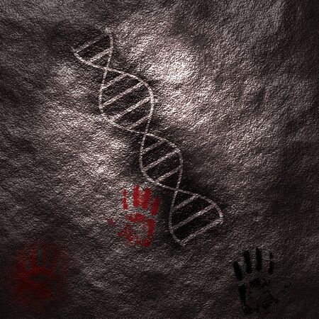 A DNA strand on the surface of a cavewall with hand prints