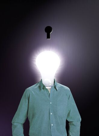 proposition:  IDEA MAN: A human figure with a glowing bulb for a head stands in front of a dark keyhole