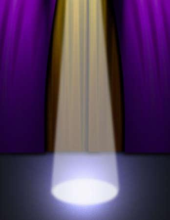 make public: A spotlight on an empty stage Stock Photo